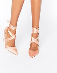 Asos Pino Satin Lace Up Pointed Heels Nude Satin Beige