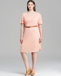 Three Dots Plus Short Sleeve Crewneck Curve Hem Dress Peach Nectar