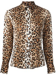 Carolina Herrera Cheetah Print Blouse Brown