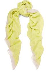 Proenza Schouler Printed Modal And Silk Blend Scarf Chartreuse