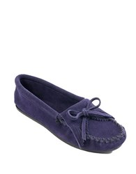 Minnetonka Kilty Suede Driver Moccasins Navy Blue