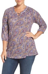 Lucky Brand Plus Size Women's Paisley Jersey Split Neck Top Red Multi