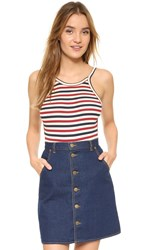 Capulet Scoop Back Bodysuit Red Cream Navy Stripe