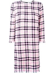 Msgm Checked Shift Dress Pink And Purple