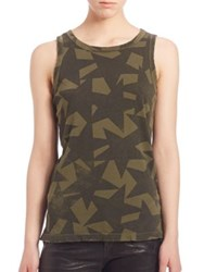 Current Elliott Cotton Star Print Muscle Tee Army Green