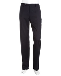 Neiman Marcus Flat Front Wool Blend Pants Navy