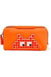 Anya Hindmarch Girlie Stuff Leather Trimmed Cosmetics Case Bright Orange