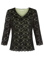 Kaliko Contrast Lining Lace Top Black