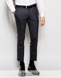 Noose And Monkey Cropped Trousers With Stretch And Turn Up In Super Skinny Fit Grey