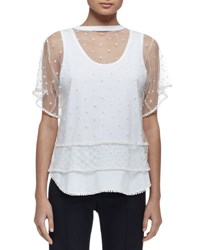 Chloe Short Sleeve Embroidered Overlay Tee Optic White