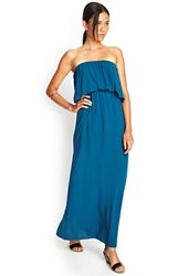Forever 21 Strapless Flounce Maxi Dress Jade