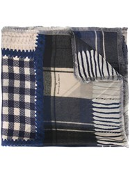 Pierre Louis Mascia Patchwork Scarf Blue