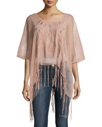 Romeo And Juliet Couture Embroidered Fringe Trim Tee Pink