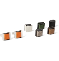 Valextra Interchangeable Sterling Silver And Pebbled Leather Cufflinks Multi