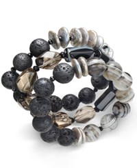 Paul And Pitu Naturally 3 Pc. Cultured Freshwater Pearl 12Mm Lava Bead Leather Bracelet Set Black