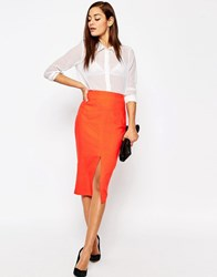 Asos Linen Pencil Skirt With Pocket Detail Tomato
