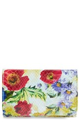 Women's Hobo 'Jill' Floral Print Trifold Leather Wallet