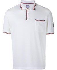 Moncler Gamme Bleu Polo Shirt With Striped Trim White Red Navy