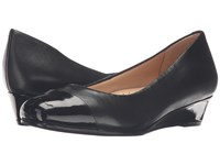 Trotters Langley Black Soft Nappa Leather Patent Women's Wedge Shoes