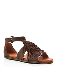 Gentle Souls Beverly Fringe Flat Sandals Dark Brown