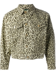 Jean Paul Gaultier Vintage 'Junior Gaultier' Leopard Denim Jacket Nude And Neutrals
