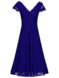 Jolie Moi Cap Sleeve Scalloped Dress Royal Blue