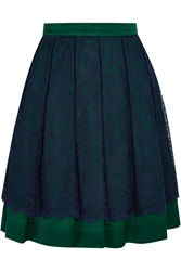 Matthew Williamson Layered Lace And Satin Skirt Green