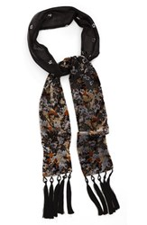 Collection Xiix Women's 'Folk Floral' Tassel Skinny Scarf Neutral