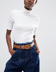 Asos Leather Jeans Belt Tan Brown