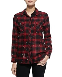 Generation Love Paint Drip Print Plaid Blouse Red