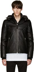 Mackage Black Leather Belfour Down Jacket