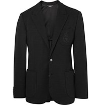 Dolce And Gabbana Black Slim Fit Embroidered Virgin Wool Blazer Black
