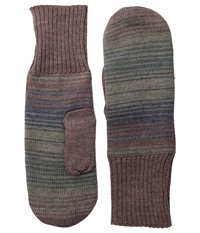 Pendleton Fleece Lined Mittens Yakima Camp Stripe Wool Gloves Brown