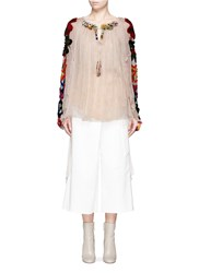 Chloe Floral Tissue Jersey Embroidered Crepon Blouse Neutral