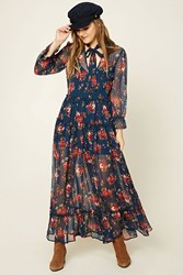 Forever 21 Floral Peasant Maxi Dress Blue Pink