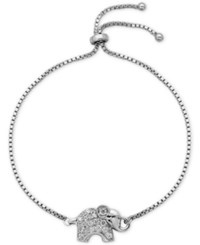 Giani Bernini Cubic Zirconia Pave Elephant Adjustable Bracelet In Sterling Silver Only At Macy's