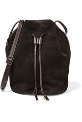 Halston Heritage Polished Leather And Nubuck Bucket Bag Dark Brown