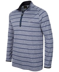 Greg Norman For Tasso Elba Striped Quarter Zip Shirt Only At Macy's Blue Heather