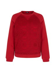 Mela Loves London Lace Panel Sweatshirt Red