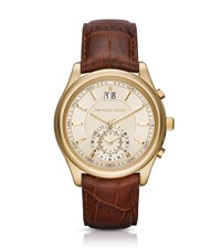 Michael Kors Aiden Gold Tone And Leather Watch