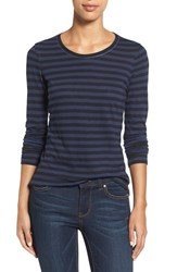 Caslonr Petite Women's Caslon Long Sleeve Slub Knit Tee Navy Black Stripe