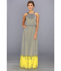 Vince Camuto Ombre Halter Maxi Dress Neon Glow Women's Dress Yellow