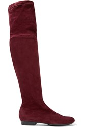 Robert Clergerie Fissal Stretch Suede Over The Knee Boots Burgundy