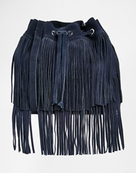 Faith Suede Fringed Tiered Duffle Bag Navy
