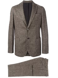 Eleventy Tweed Suit Brown