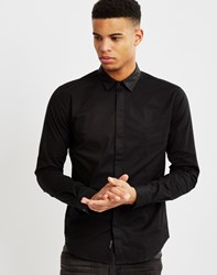 Religion Lucas Leather Collar Shirt Black