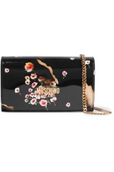 Moschino Printed Patent Leather Shoulder Bag Black