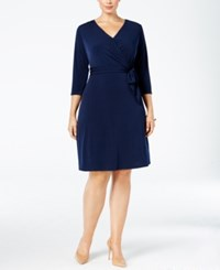 Ny Collection Plus Size Faux Wrap Dress Navy