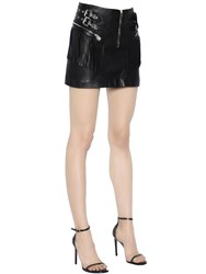 Saint Laurent Fringed Leather Mini Skirt W Zips