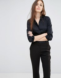 Sisley Ruffle Front Shirt With Body 100 Black